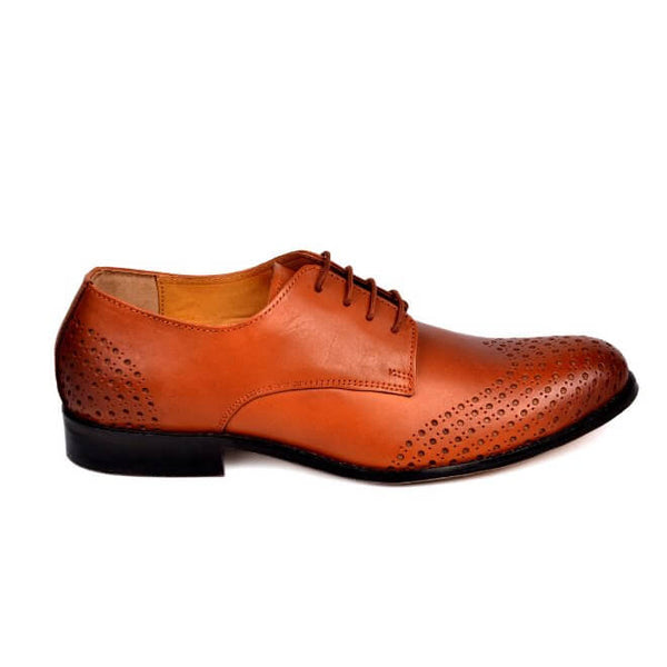 A side view of size 38 men's derby brogue shoes made with cognac leather