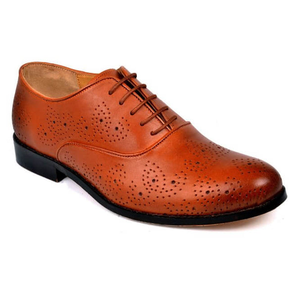 A side view of men's oxford brogue xxw width shoes made with dark tan leather