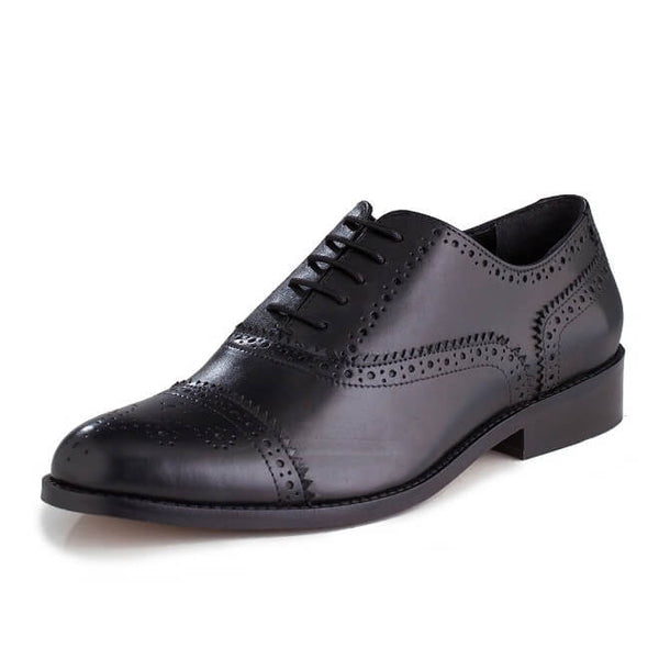 A left side view of men's customize cap toe oxford brogue shoes made with black leather