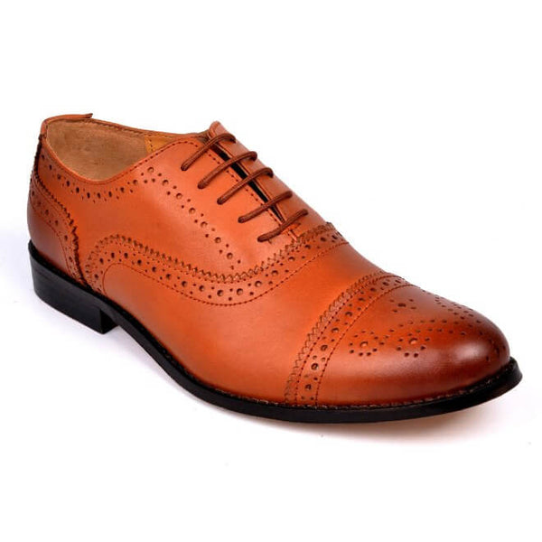A side view of men's customize cap toe oxford brogue shoes made with cognac leather