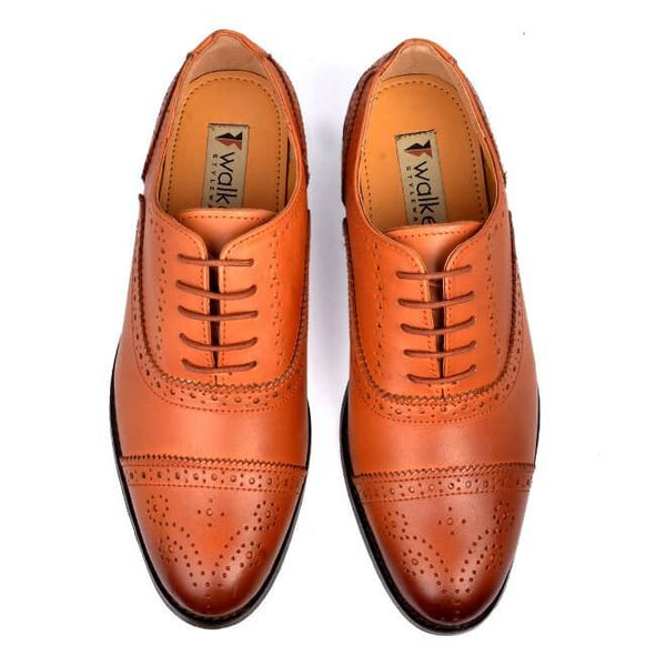 A top view of men's customize cap toe oxford brogue shoes made with cognac leather
