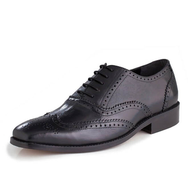 A side view of oxford brogues shoes for broad feet made in black leather