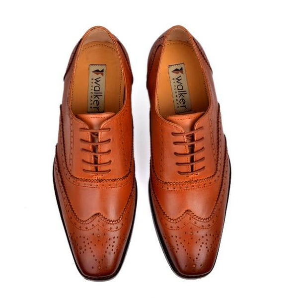 A top view of oxford brogues shoes for broad feet made in dark tan leather