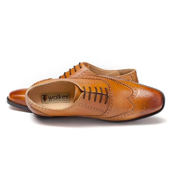 A top view of oxford brogues shoes for broad feet made in tan leather