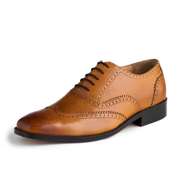 A side view of oxford brogues shoes for broad feet made in tan leather