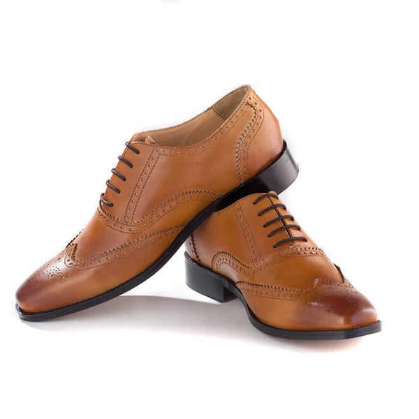 A side view of Men's oxford brogues shoes for broad feet made in tan leather