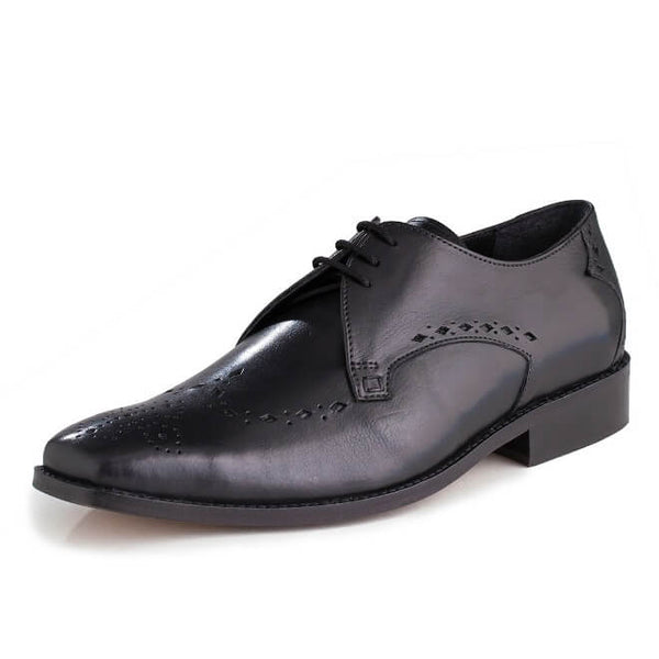 A side view of men's custom made derby brogue shoes made with black leather