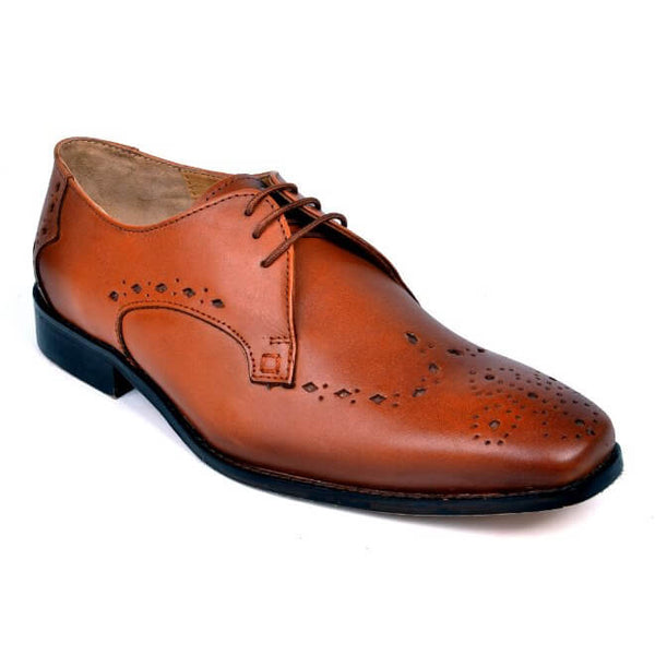 A side view of men's custom made derby brogue shoes made with cognac leather