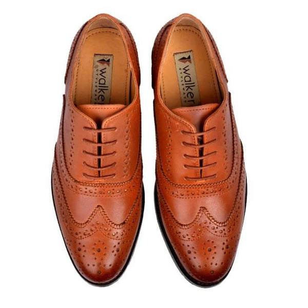 A top view of men's handmade wingtip oxford brogue shoes made with cognac leather