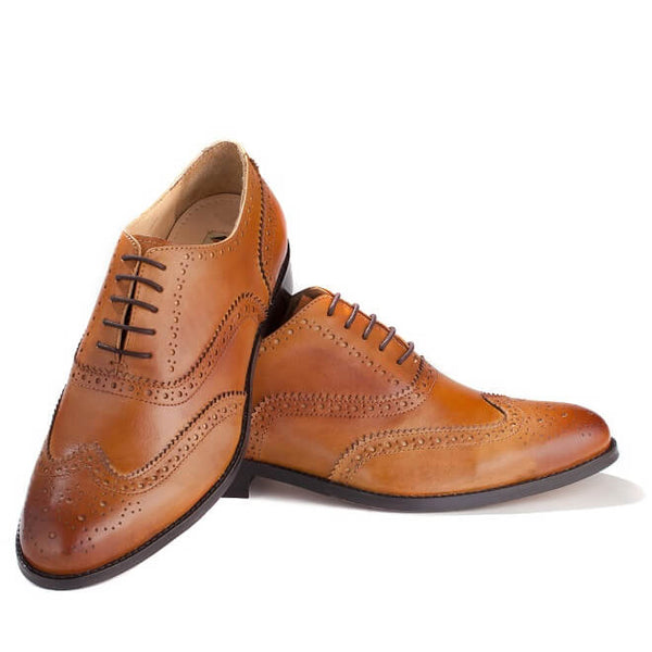 A top and side view of pair of men's handmade wingtip oxford brogue shoes made with tan leather