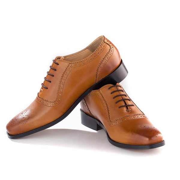 A side and front view of men's handcrafted oxford brogue shoes made with tan leather