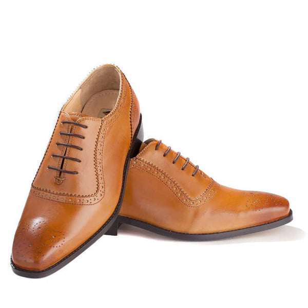 A front view of men's handcrafted oxford brogue shoes made with tan leather