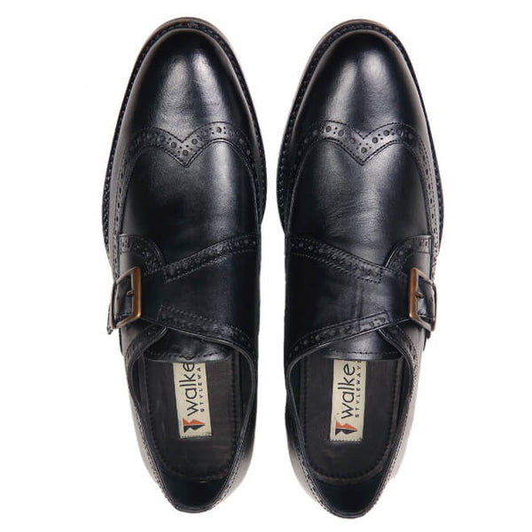 A top view of men's monk strap size 12 shoes made in black leather