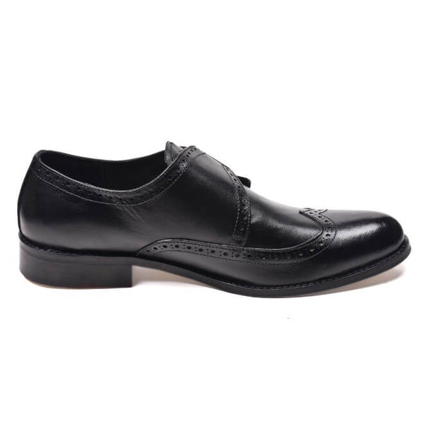A side view of men's monk strap size 12 shoes made in black leather