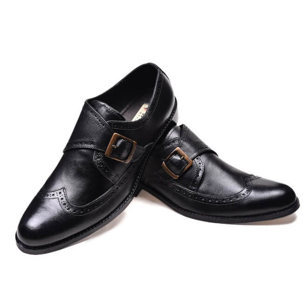 A side and front view of men's monk strap size 12 shoes made in black leather