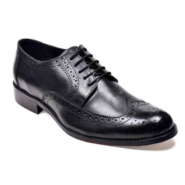 A side view of men's derby brogue size 14 shoes made in black leather