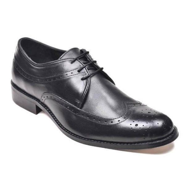 A side view of men's derby brogue size 15 shoes made in black leather