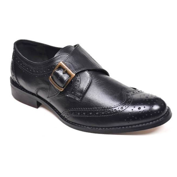 A side view of men's monk strap size 11 shoes made in black leather
