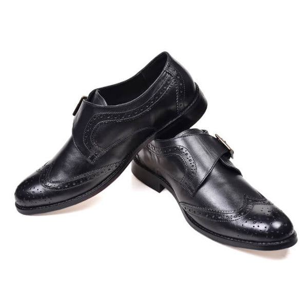 A side and front view of men's monk strap size 11 shoes made in black leather