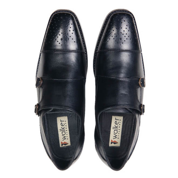 A top view of men's double monk strap size 13 shoes made in black leather