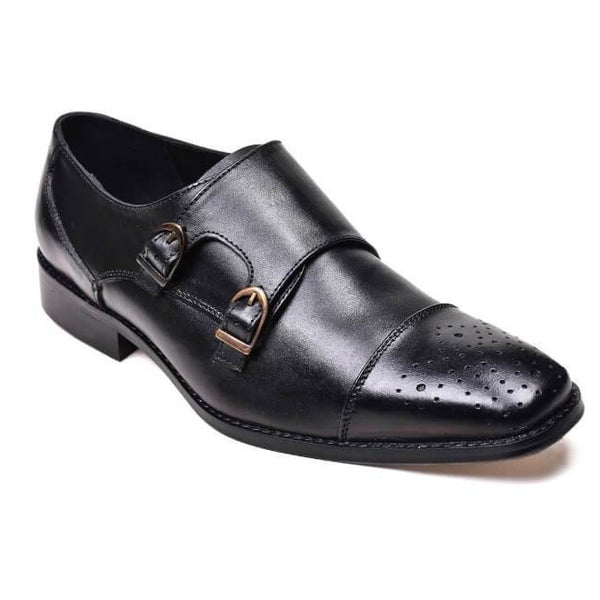 A front view of men's double monk strap size 13 shoes made in black leather