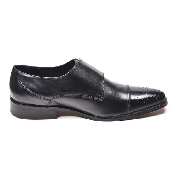 A side view of men's double monk strap size 13 shoes made in black leather