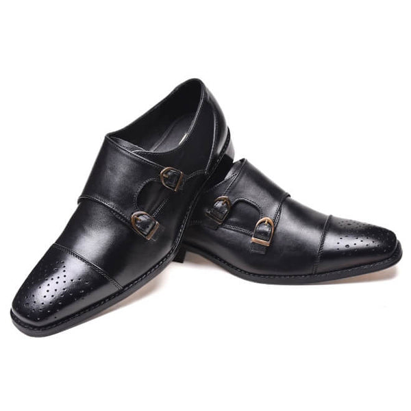 A side and front view of men's double monk strap size 13 shoes made in black leather