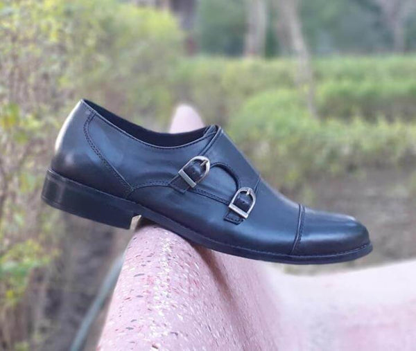 Walker Styleways Ingenious Double Monk Black Leather Shoes - Custom Made