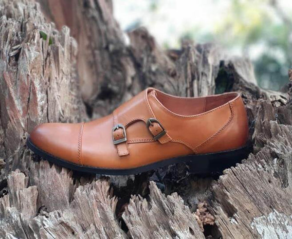 Walker Styleways Ingenious Double Monk Tan Leather Shoes - Custom Made