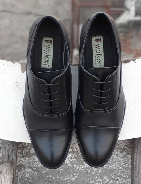 Brilliant Oxford Toe Cap Black Leather Shoes - Custom Made