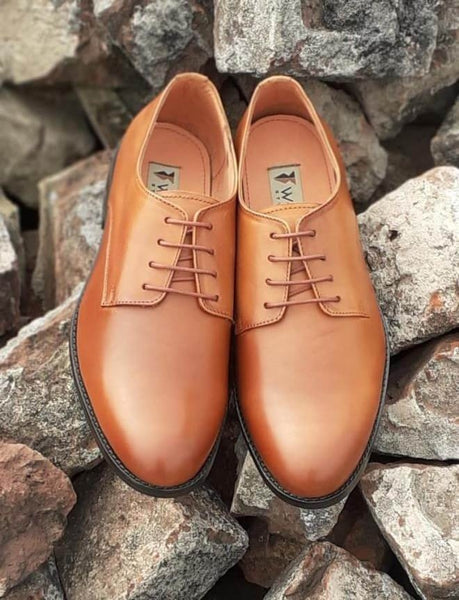 Glorious Derby Cognac Leather Shoe - Custom Made