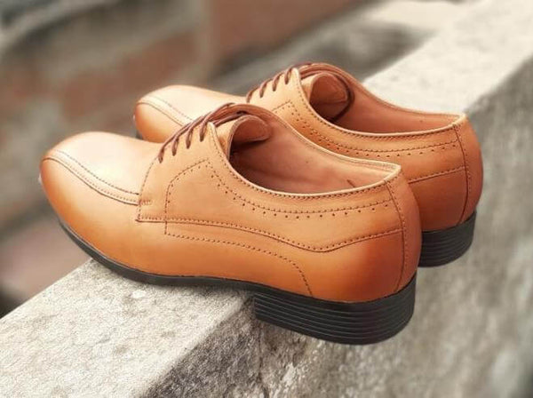 Walker Styleways Exclusive Rich Tan Leather Derby Lace up Extra Wide Shoes