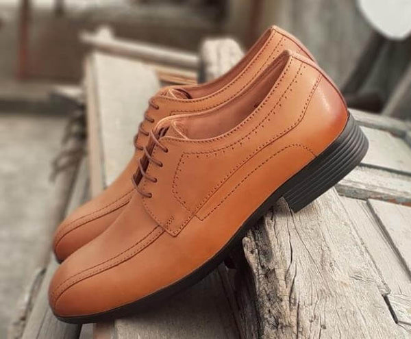 Walker Styleways Exclusive Rich Tan Leather Derby Lace up Wide Shoes