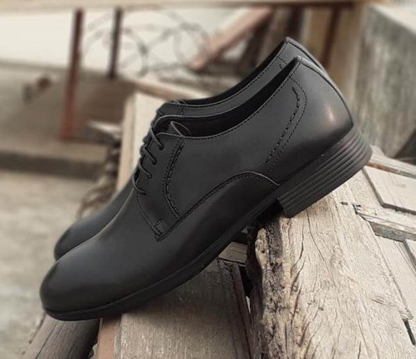 Walker Styleways Admirable Epic Black Leather Derby Lace up Extra Wide Shoes