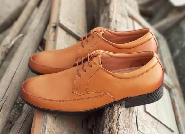 A side view of tan leather men's big shoes kept on wooden plank