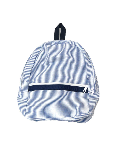 Blue Monogrammed Seersucker Backpack