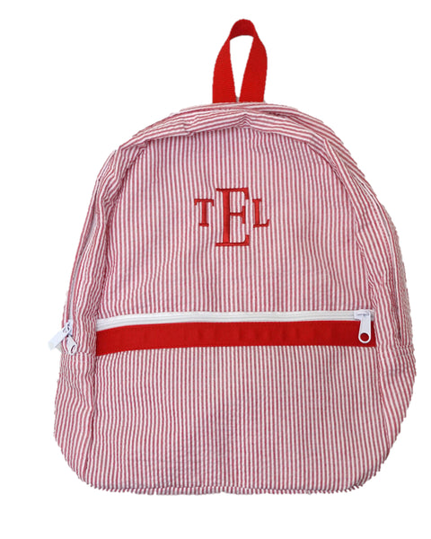 Red Monogrammed Seersucker Backpack