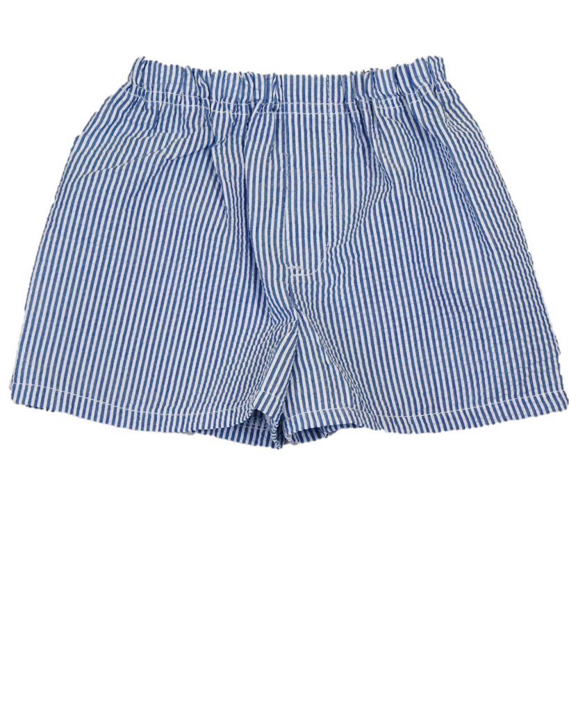 Blue Seersucker Pull-On Shorts