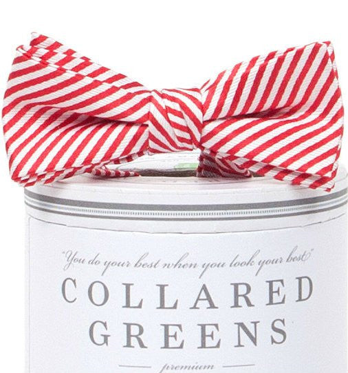 Collared Greens Red and White Striped Bow Tie