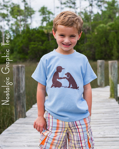 Nostalgic Graphic Tee Boy with Dog