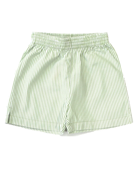 Green and White Striped Shorts