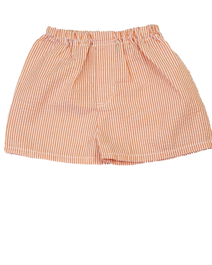 Orange Seersucker Pull-On Shorts