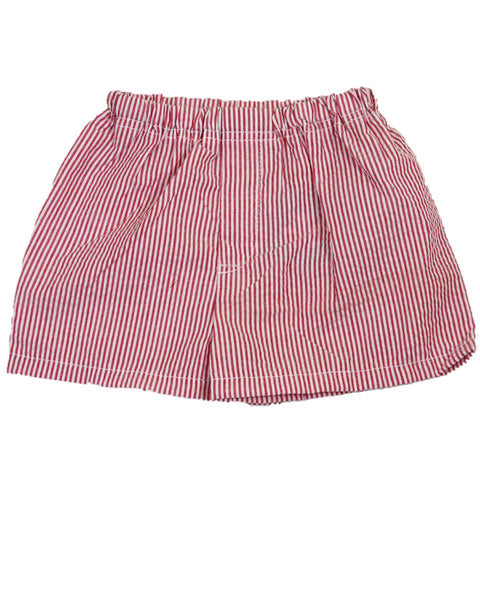 Red Seersucker Pull-On Shorts