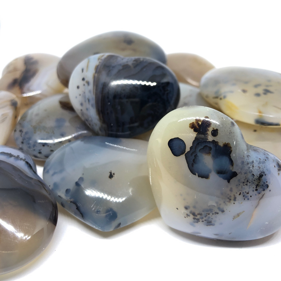Dendritic Agate Puffed Heart