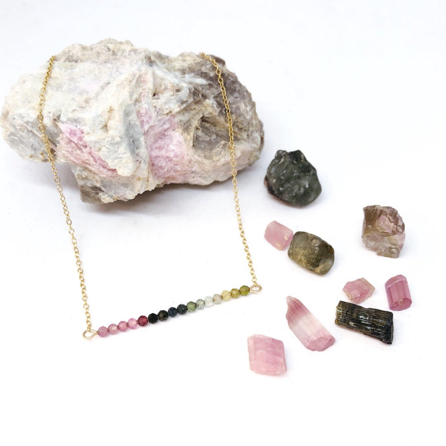 Rainbow Tourmaline Bar Choker