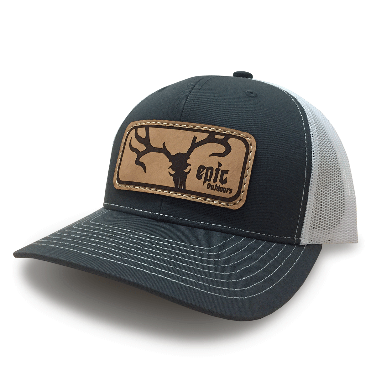 Epic Outdoors Authentic Leather Patch Trucker Hat 4e0d711eac0