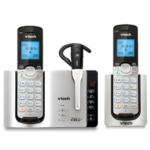 VTech DS6671-3 DECT 6.0 Expandable Cordless Phone with Bluetooth Connect to Cell and Answering System, Silver/Black with 2 Handsets and 1 Cordless Headset