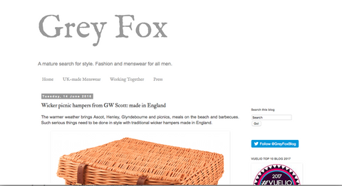 GW Scott picnic baskets on Grey fox blog