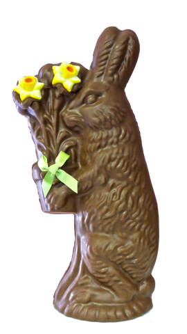 Homemade Chocolate Easter Bunny with Flower Pot