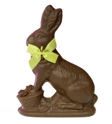 Homemade Chocolate Easter Bunny with feet on Easter Basket